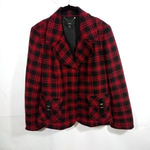 TALBOTS Wool Blend Plaid Peacoat